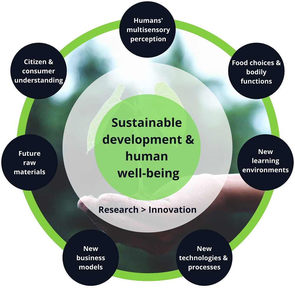 Flavorias research activities focus on sustainable development and human well-being and aim to produce new consumer understanding and innovations.